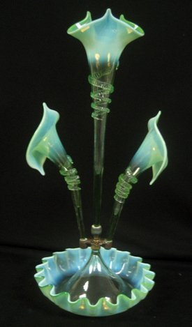 2016: Early Green to Opalescent Art Glass Epergne