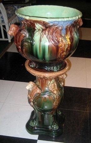 2017: Majolica Glazed Pottery Pedestal Jardiniere