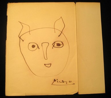 3 Original Signed Picasso Free Hand Ink Drawings