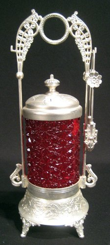 """Antique Red Glass Pickle Caster, """"Buttons and Bows"""""""