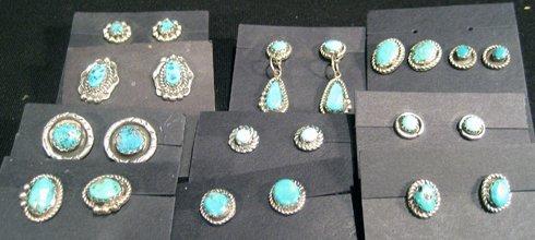 12 Pr Vintage Sterling Silver Native American Earrings