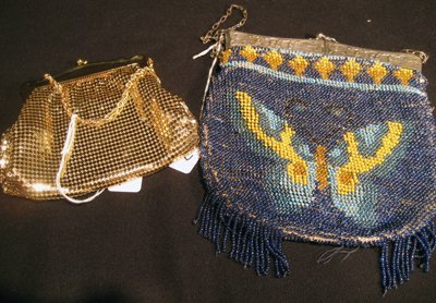 2 Purses - Whiting and Davis Gold Metal & Blue Beaded