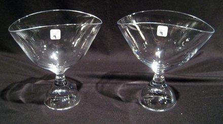 Pair Signed Kosta Art Glass Pedestal Vases