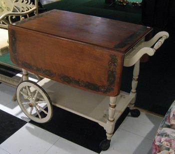 Modern Ethan Allen Drop Leaf Tea Cart