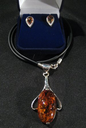 Sterling Silver & Amber Oval Pendant & Earrings