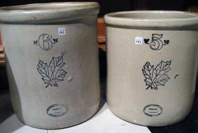 2 Antique Western Stoneware Pottery Crocks 5 Amp 6 Gal