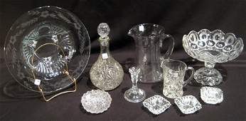 10 pc Pressed & Etched Glass Items - Salts, Footed Bowl