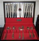 62 pc Wm. Rogers Silver Plate Flatware in Cutlery Box