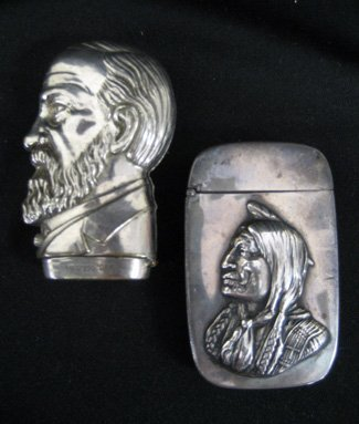 """Two match safes """"Grant"""" and Native American Indian"""