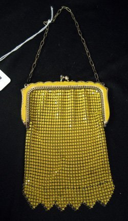 Whiting and Davis painted yellow metal mesh coin purse.