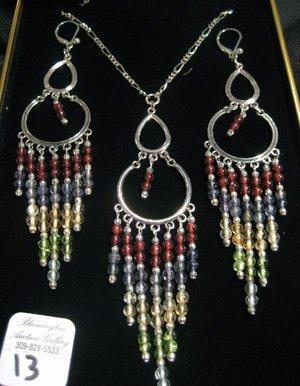 Sterling silver chandelier necklace & earrings