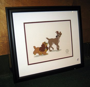 """Framed L.E. Walt Disney sericell, """"Lady and the Tramp"""""""