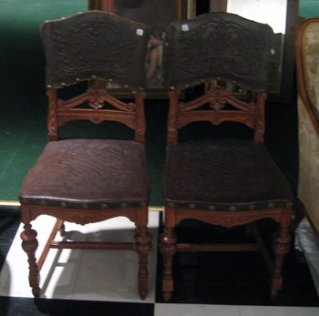Pair walnut Victorian chairs with carved rail