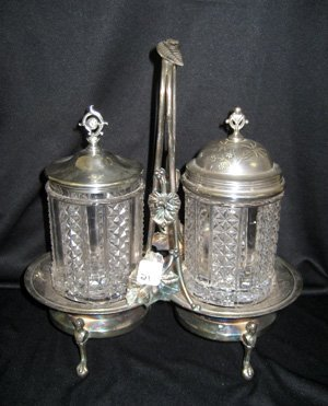 Double glass pickle caster in double silver-plated stan