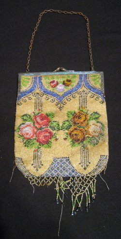 Ornate German beaded evening purse decorated with roses