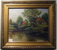 Framed oil on canvas landscape signed Cook
