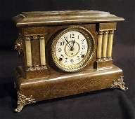 Seth Thomas faux green marble mantle clock