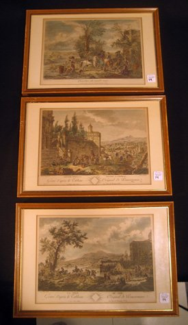 Three Wouvermans framed hand colored etchings