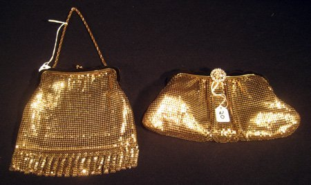 Two Whiting & Davis gold metal beaded evening purses