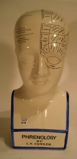 "Porcelain head ""Phrenology"" - medically charted brain"