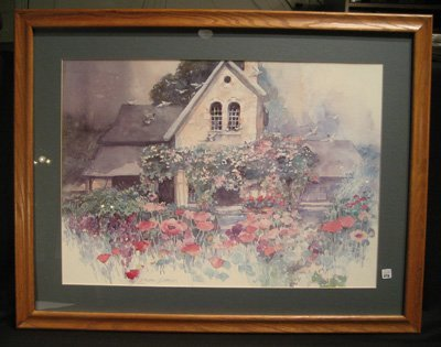 Framed Dalina Dapeion print w/house and flower garden
