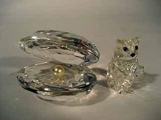 2 Retired Swarovski Crystal Items: Cat & Clam w/ Pearl