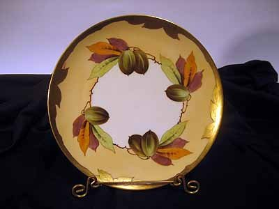 Signed Pickard Porcelain Plate with Nuts and Leaves