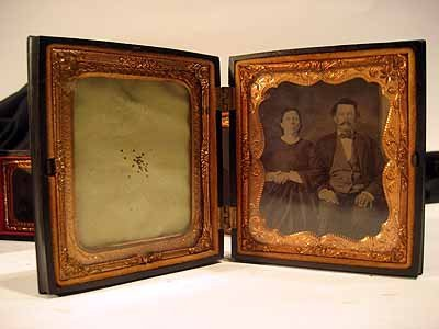 4 Daguerreotype Cases with photographs & small frame