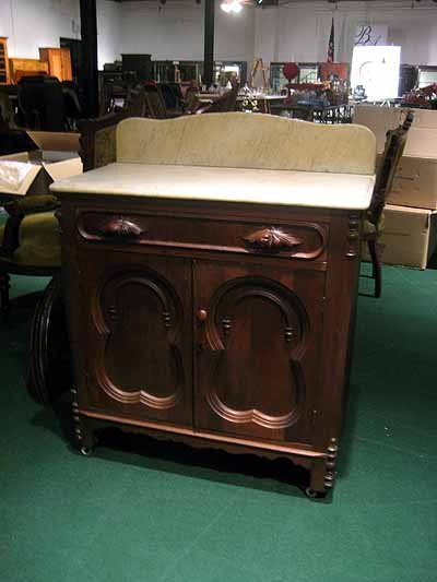 Walnut Victorian Marble Top Washstand with 1 Drawer