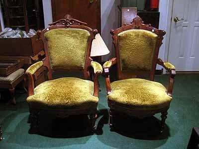 4 Victorian Walnut and Burlwood chairs w/ green velvet