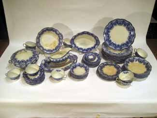 72pc Antique W.H. Grindley Flow Blue China, Haddon