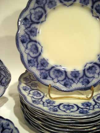 72pc Antique W.H. Grindley Flow Blue China, Haddon      - 2