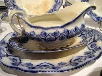 72pc Antique W.H. Grindley Flow Blue China, Haddon      - 3