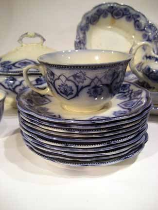 72pc Antique W.H. Grindley Flow Blue China, Haddon      - 4
