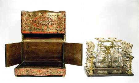 Antique French Boulle Tantalus Set w/ Baccarat, 1870