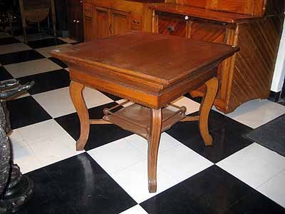 Antique Oak Game Table with Lower Shelf