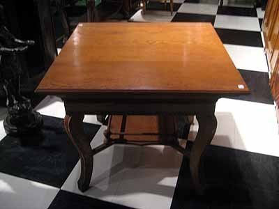 Antique Oak Game Table with Lower Shelf - 3