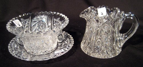 Cut glass sugar and creamer with under plate