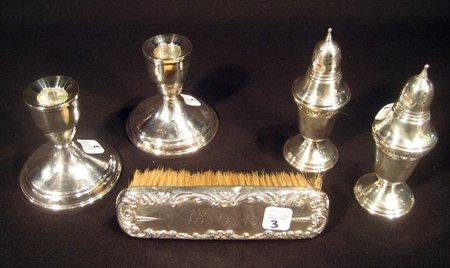 5 Sterling Silver Pcs -  salt shakers,  candlesticks, +