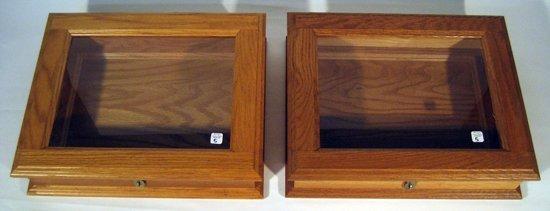 2 Oak Hinged Lidded Display Boxes w/ Glass Paneled