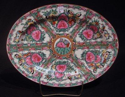 """Chinese """"Rose Medallion"""" Oval Porcelain Platter"""