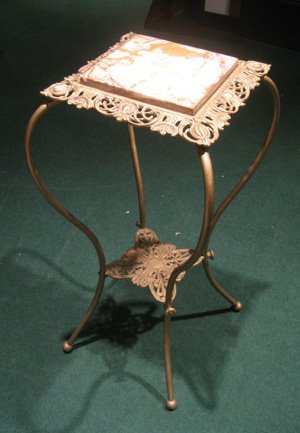 Brass Plant Stand w/ Brown Marble Inset Top and Lower S