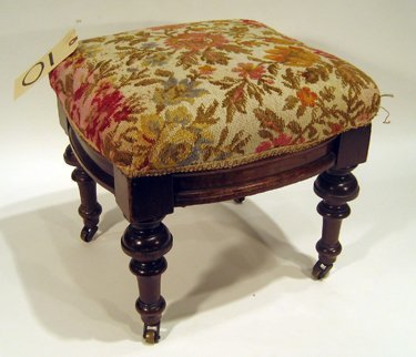 Small Walnut Framed Foot Stool - Floral Upholstered Top