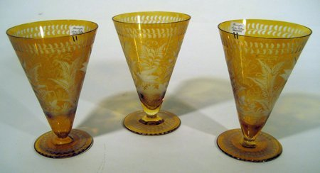 8 Amber Glass Goblets with Etched Flowers & Birds