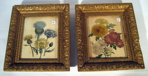 Pair Small Framed Prints Still Life w/ Flowers in