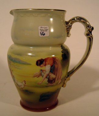 Royal Bayreuth Porcelain Pitcher w/ Hand Painted Scene