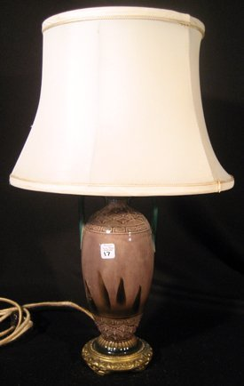 Hand Painted Porcelain Table Lamp w/ Flowers & Leaves