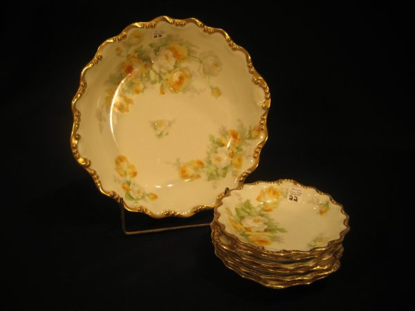 Limoges Coronet hand painted porcelain berry set
