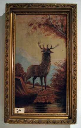 Framed oil on board painting, standing deer