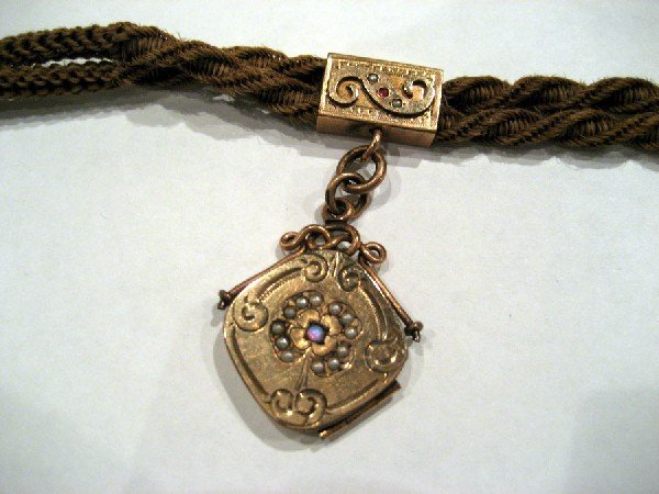 Victorian hair watch chain/pearls and opals